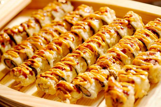 California roll dipped in tempura.